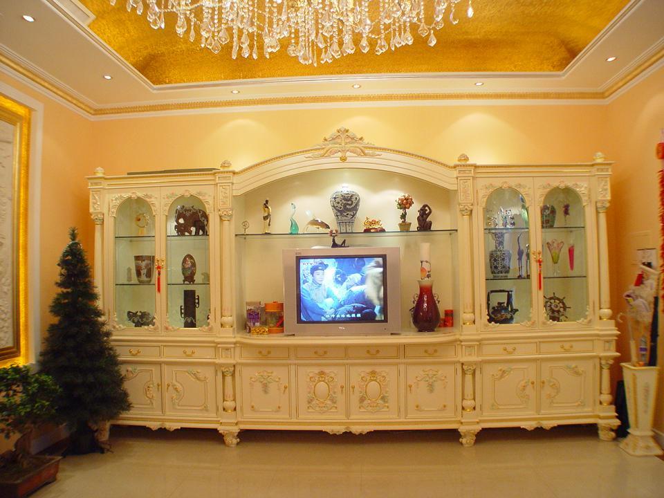 欧式书柜连电视柜,烈纹漆饰面
