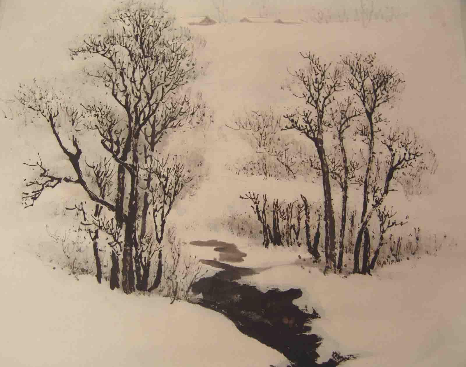 [原创]《雪景山水画》图片