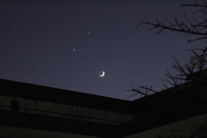 和金星同时出现,有月亮伴随