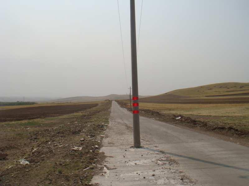 代霍公路的电线杆,呵呵危险吧?