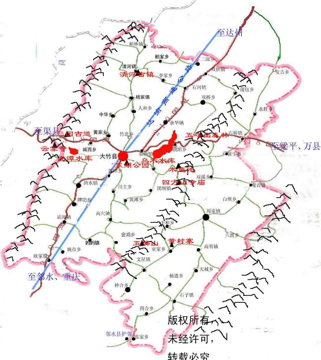 大竹县旅游地图