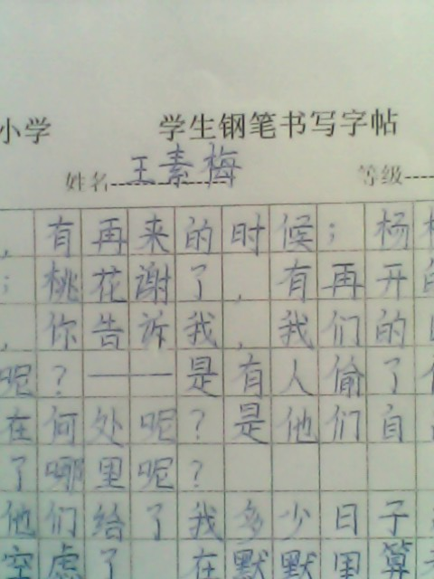 学生钢笔书法作品